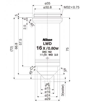 Nikon CFI75 Plan Achro 16xw LWD